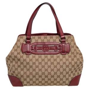 Gucci Red/Beige GG Canvas and Leather Medium Supreme Web Dressage Tote