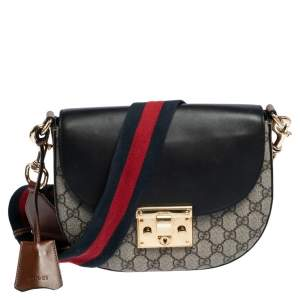 Gucci Black/Beige GG Supreme Canvas Medium Padlock Shoulder Bag