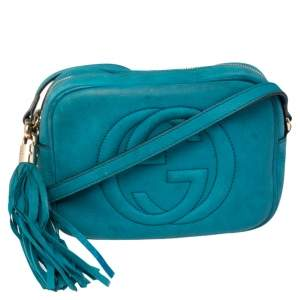 Gucci Turquoise Nubuck Leather Small Soho Disco Crossbody Bag