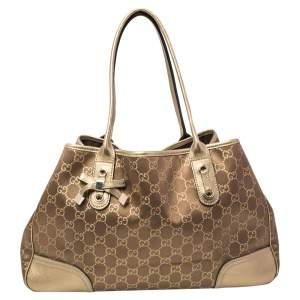 Gucci Brown/Gold GG Canvas And Leather Princy Tote