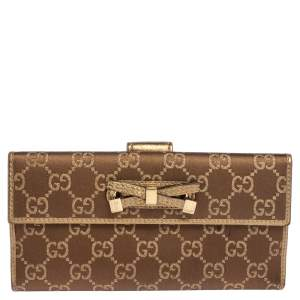 Gucci Beige/Gold GG Canvas and Leather Mayfair Bow Continental Wallet