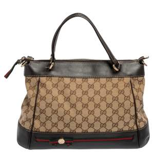 Gucci Beige/Ebony GG Canvas and Leather Small Mayfair Bow Tote