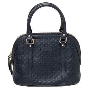 Gucci Navy Blue Microguccissima Leather Mini Dome Bag