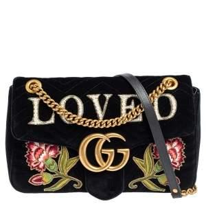 Gucci Black Love Embroidered Matelassé Velvet Medium GG Marmont Shoulder Bag