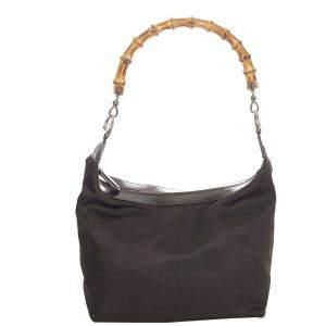 Gucci Brown Nylon Bamboo Shoulder Bag