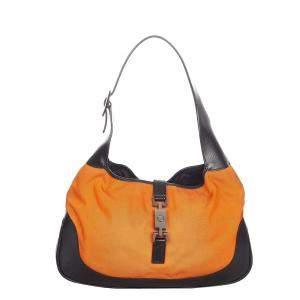 Gucci Orange/Black Nylon Jackie Hobo Bag