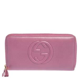 Gucci Pink Leather Soho Zip Around Wallet