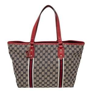 Gucci Beige/Red GG Canvas And Leather Jolicoeur Tote