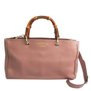 Gucci Pink Leather Medium Bamboo Shoulder Bag