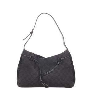 Gucci Black GG Canvas Horsebit Shoulder Bag