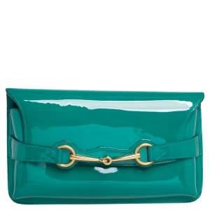 Gucci Green Patent Leather Horsebit Clutch