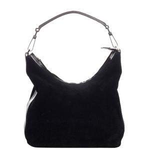 Gucci Black Suede and Leather Shoulder Bag