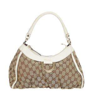 Gucci Beige/Brown GG Canvas Abbey D-Ring Hobo Bag