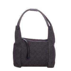Gucci Black GG Canvas Fabric Shoulder Bag