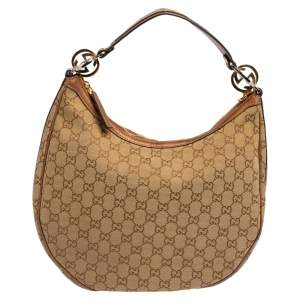 Gucci Metallic Brown/Beige GG Canvas and Leather GG Twins Medium Hobo