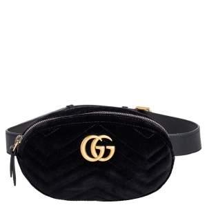 Gucci Black Chevron Velvet GG Marmont Belt Bag