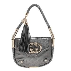 Gucci Metallic Grey Guccissima Leather Small Britt Tassel Hobo
