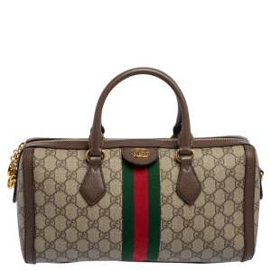 Gucci Beige/Brown GG Supreme Canvas and Leather Medium Ophidia Boston Bag