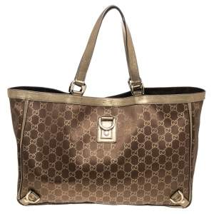 Gucci Brown/Metallic Gold GG Canvas And Leather Abbey D-Ring Tote