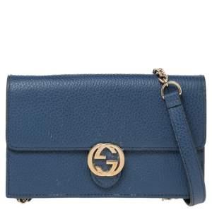 Gucci Blue Leather Interlocking G Wallet on Chain