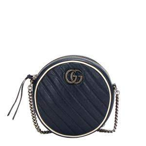 Gucci Blue Calf Leather GG Marmont Shoulder Bag