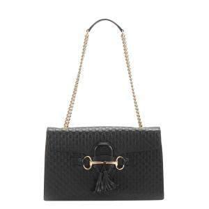 Gucci Black Leather Emily Shoulder Bag