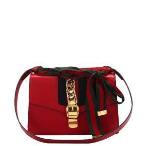Gucci Red Calf Leather Sylvie Shoulder Bag