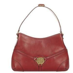 Gucci Red Leather Reins Hobo Bag