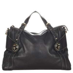 Gucci Black Leather Hysteria Satchel Bag