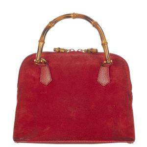 Gucci Red Suede Bamboo Satchel Bag
