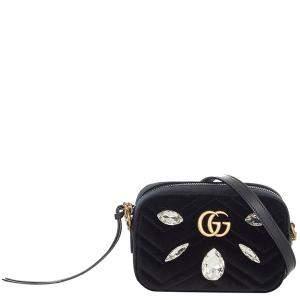 Gucci Black Calf Leather GG Marmont Velvet Shoulder Bag