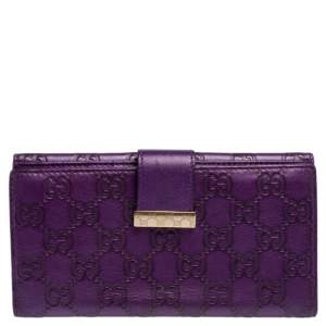 Gucci Purple Guccissima Leather Flap Continental Wallet