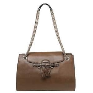 Gucci Dark Beige Leather Large Emily Chain Shoulder Bag