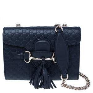 Gucci Navy Blue Microguccissima Leather Mini Emily Crossbody Bag