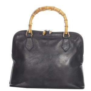 Gucci Black Leather Bamboo Satchel Bag