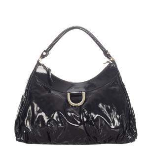Gucci Black Patent Leather Abbey D-Ring Shoulder Bag