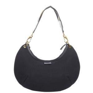 Gucci Black Canvas Fabric Web Hobo Bag