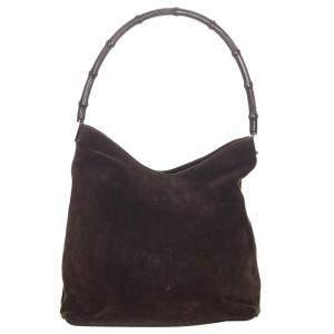 Gucci Brown Suede Bamboo Shoulder Bag
