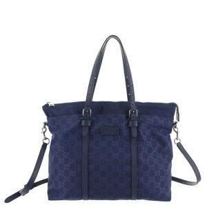 Gucci Blue GG Nylon Canvas Satchel Bag