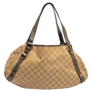 Gucci Beige/Metallic GG Canvas and Leather Medium Abbey Shoulder Bag