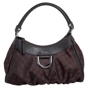 Gucci Dark Brown GG Fabric and Leather Small D Ring Hobo