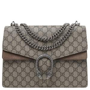Gucci Beige GG Supreme Canvas And Suede Medium Dionysus Shoulder Bag