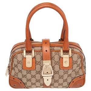 Gucci Beige/Brown GG Canvas and Leather Bowler Bag