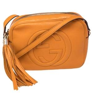 Gucci Mustard Leather Small Soho Disco Crossbody Bag