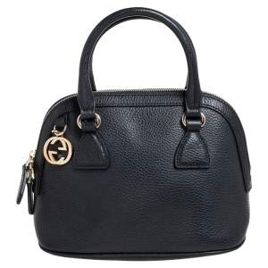 Gucci Black Leather Small GG Charm Dome Satchel