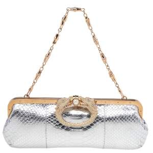Gucci Silver Python Embossed Leather Crystal Dragon Chain Clutch