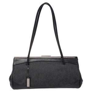 Gucci Black Denim and Leather Vintage Slide Frame Shoulder Bag