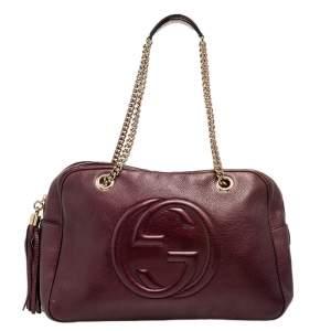 Gucci Metallic Burgundy Leather Large Soho Chain Shoulder Bag