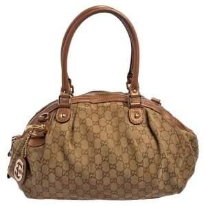 Gucci Beige/Brown Glitter GG Canvas and Leather Medium Sukey Boston Bag