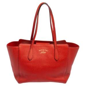 Gucci Red Leather Swing Small Tote
